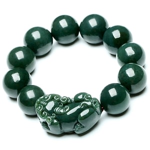 Feng Shui Style Deep Green Jade Bracelet