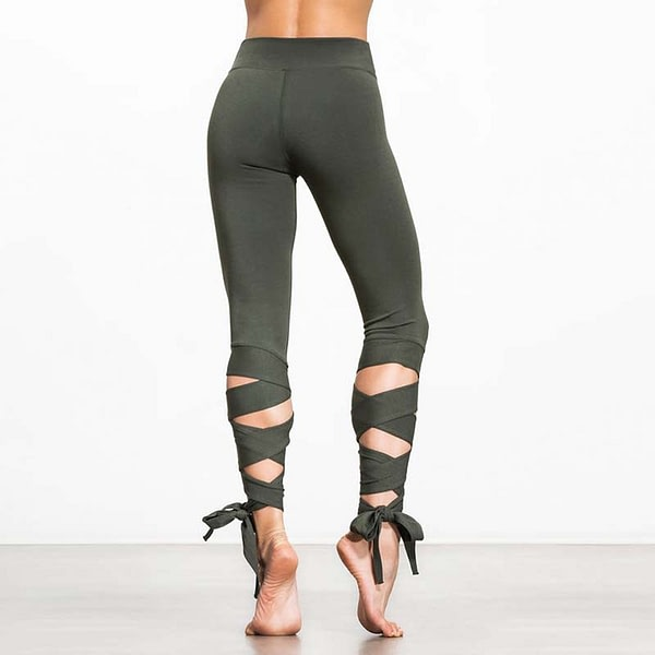 Women's Elastic Yoga Pants with Bandage Straps