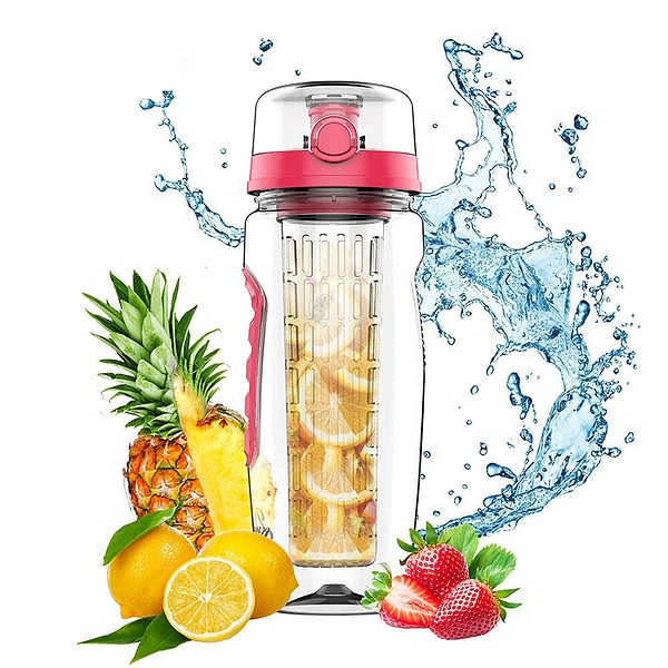 Pink Water Bottle with Fruit Infuser