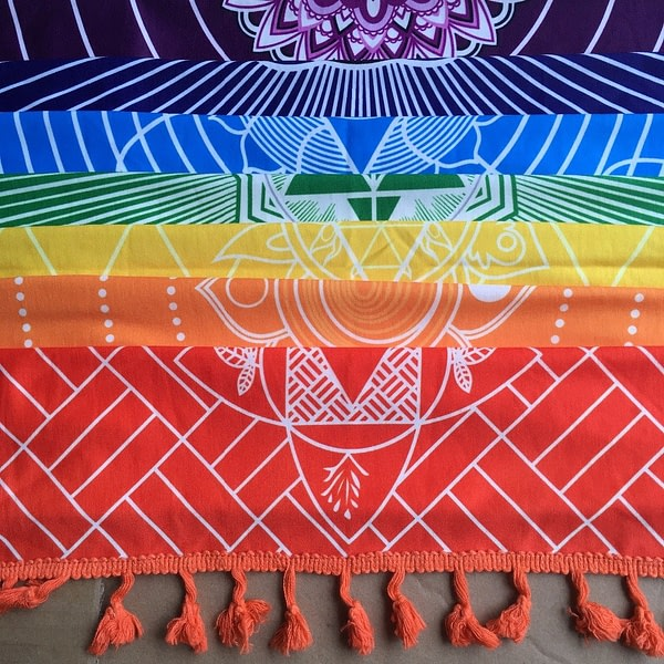 Chakra Cotton Tapestries With Tassels