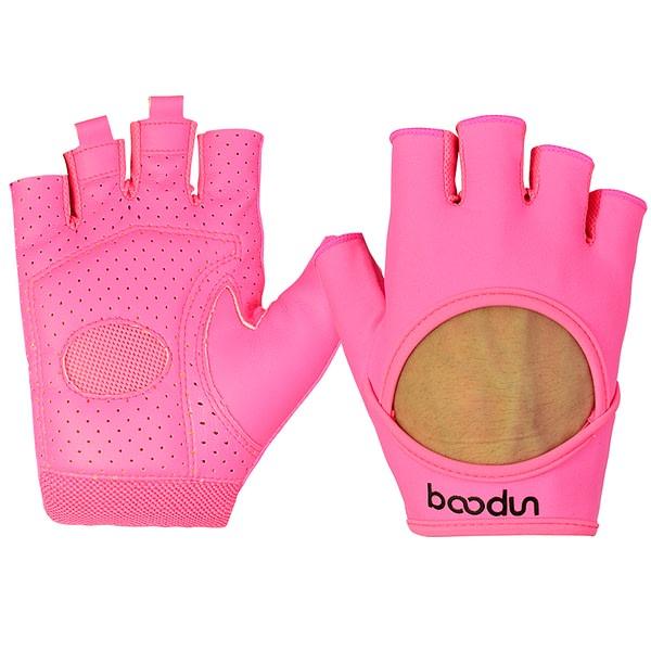 Women's Pink Half Finger Fitness Yoga Gloves