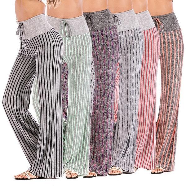 Women's Striped Wide Leg High Waist Yoga Pants 3