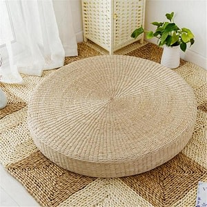 Natural Straw Round Pouf Tatami Meditation Cushion