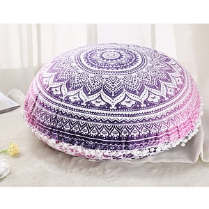 Colorful Indian Mandala Round Cushion