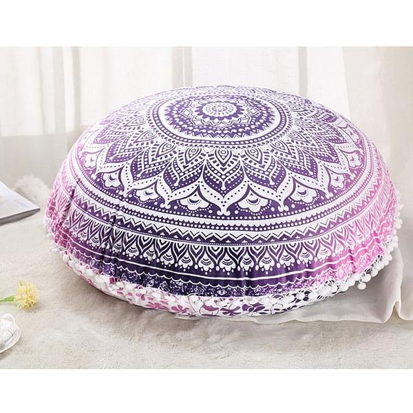 Colorful Indian Mandala Round Cushion