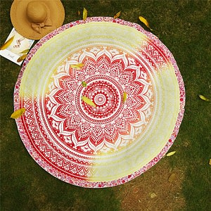 Mandala Pattern Round Yoga Blanket 3