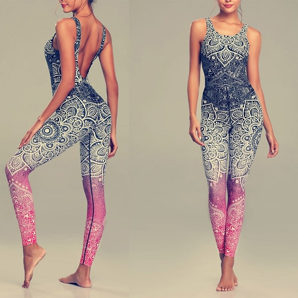 Women's Mandala Print Fitness Yoga Set